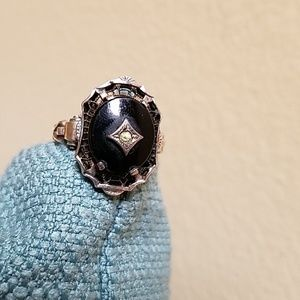 ANTIQUE *Art Deco* Black Onyx Exquisite Ring.Gorg!